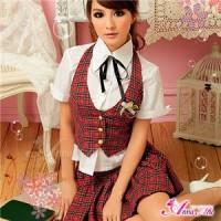 赤チェック女子高制服コスプレ z684