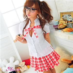 赤白チェックのミニスカ女子高生制服コスプレ z980