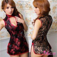 黒×赤刺繍セクシーチャイナドレスz478